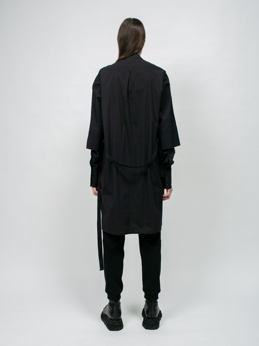 Платье-рубашка - Чёрная с принтом